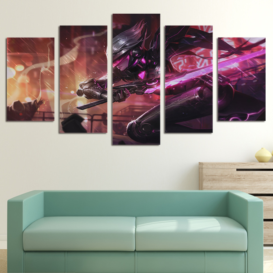 5 piece canvas art league of legends printed wall art home decor canvas painting picture poster. Black Bedroom Furniture Sets. Home Design Ideas