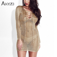 AKYZO 2017 V Neck Knitted Sheath Gold Metallic Dress Women Lace Up See Through Sexy Bodycon Long Sleeve Club Wear Dresses