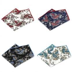 MF2529 продажи Винтаж Для мужчин хлопок нагрудные платки окантовкой Пейсли печати Платки для Ascot Галстуки Галстук Свадебная вечеринка Бизнес