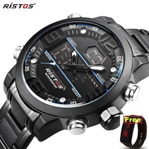 RISTOS Relojes Masculino Hombre Fashion Multifunction Steel Men Sport Watches Chronograph Digital Waterproof Wristwatch New 9338(China)