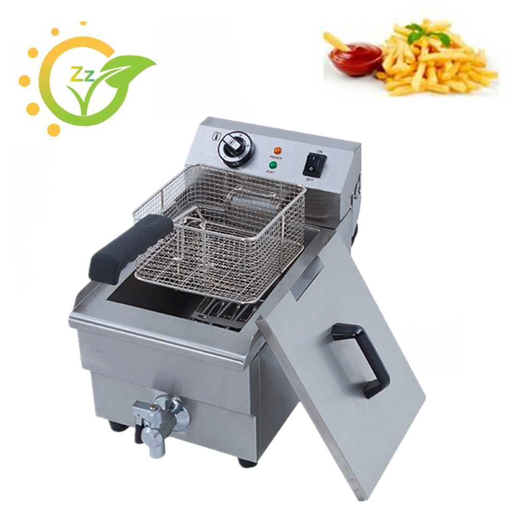 10L Electric Deep Fryer Stainless Steel French Fries Frying Machine Commercial Household Fryer CE certificate konka microcomputer intelligent control air fryer 2 5l smokeless electric air fryer french fries machine non stick fryer 220v eu