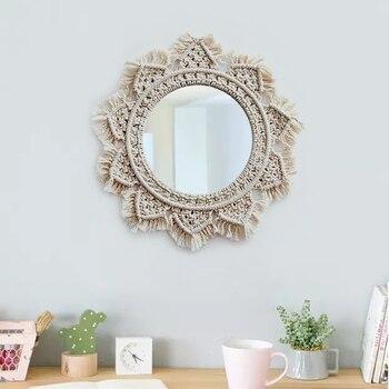 Espejos colgantes de macramé para el hogar, Espejos Decorativos, Arte Creativo para...