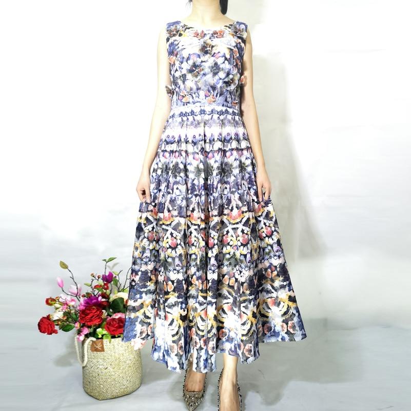 High quality 2019 summer designer fashion dress Women Sleeveless Vintage Print Applique Indie Folk Party Mid