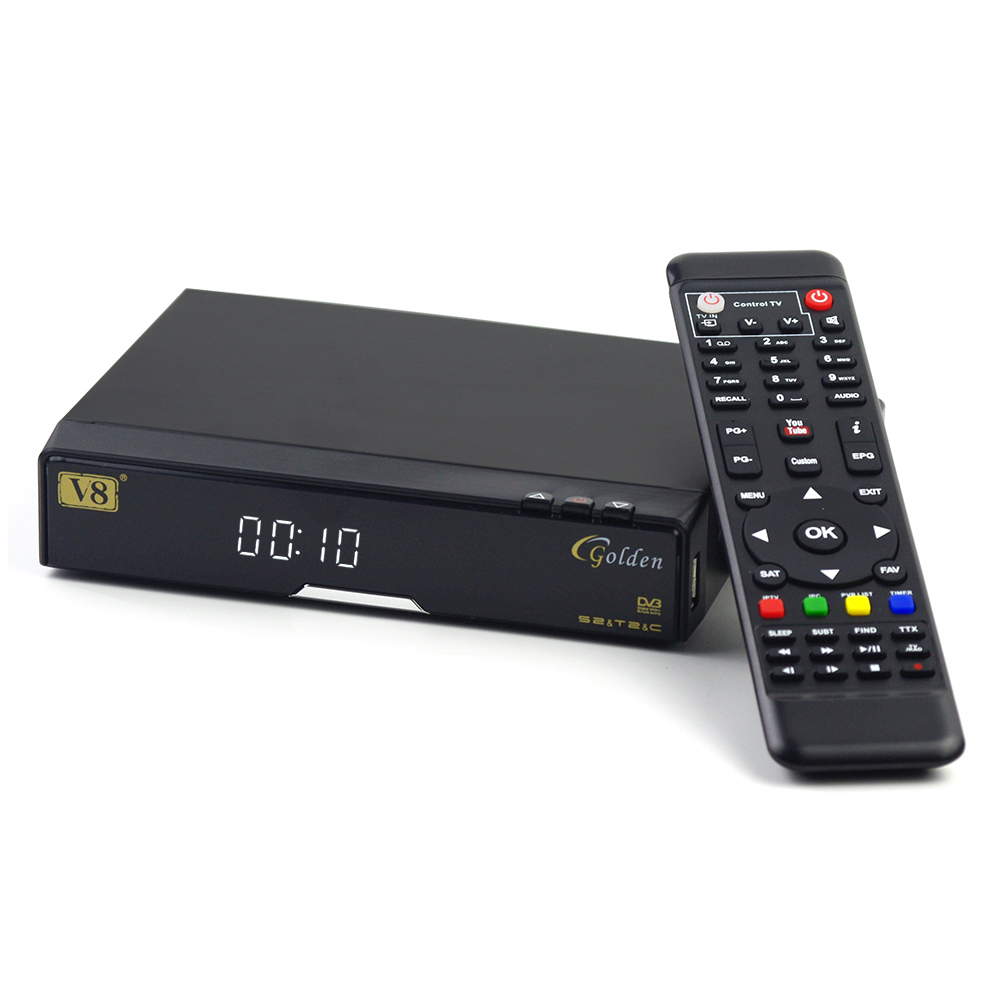 V8 Golden Satellite  Receiver DVB-S2/ DVB-T2 DVB-C Support WEB TV IPTV Youtube Youporn Redtube PowerVu Biss Key  Cccam android box iptv stalker middleware ipremuim i9pro stc digital connector support dvb s2 dvb t2 cable isdb t iptv android tv box