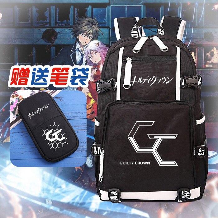318fb36d5a8a HOT SALE anime Guilty Crown backpack OUMA SHU student bookbag LOGO printing large  laptop bag USB