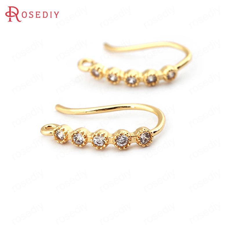 (33778)6PCS Height 15MM 24K Gold Color Brass With Zircon Earrings Hooks High Quality Diy Jewelry Findings Accessories