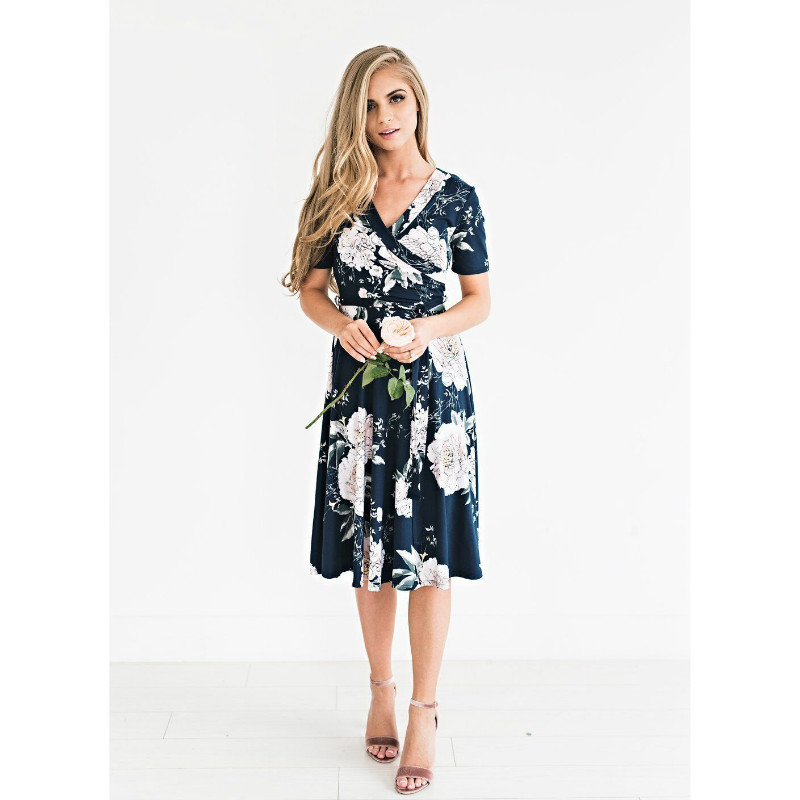 POTO Dresses for Women Casual Summer Short Sleeve Cover Up Tops Butterfly Print Midi Dress Pleated Sun Dresses Beach Dress