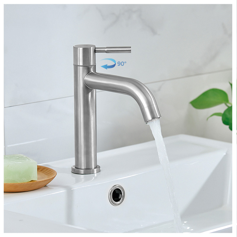 Image 2 - New 304 Stainless Steel Basin faucet Rust and corrosion resistance bathroom kitchen single cold water faucetbasin faucetcold water faucetwater faucet -