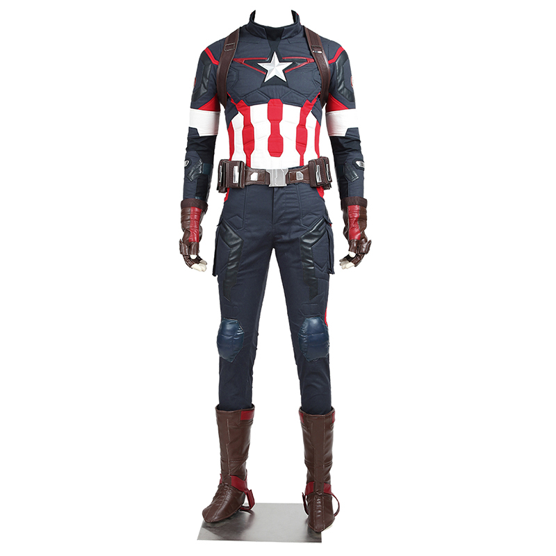 In Stock The Avengers Age Of Ultron Costume Captain America Steve Rogers Cosplay Uniform Adult Men Superhero Halloween Outfit