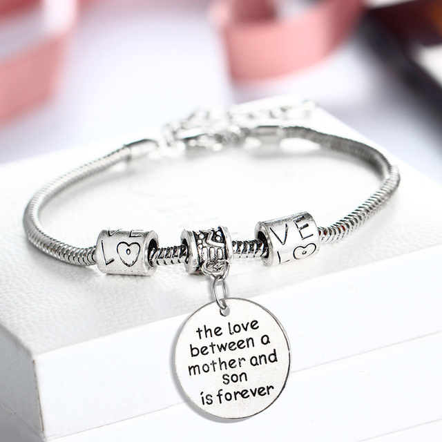 Hot Love Between Mother Son Is Forever Bangle Bracelets Beads Women Mom Family Mama Boys Jewelry