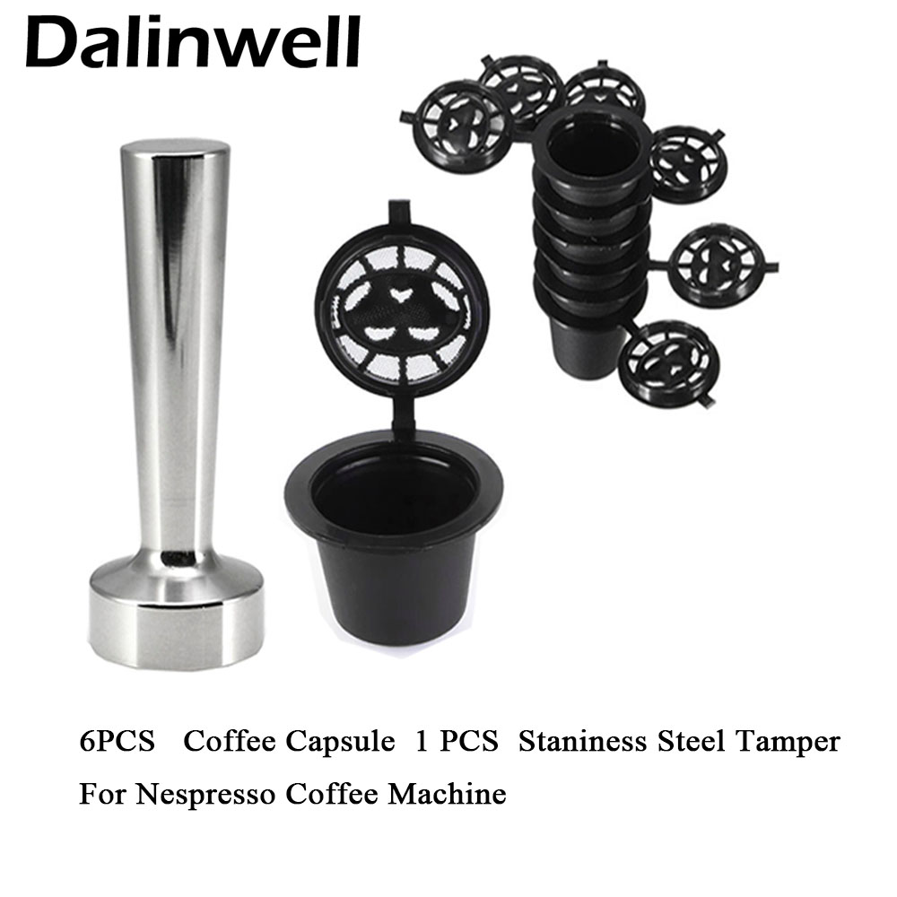 Capsule:  Reusable Nespresso Coffee Capsules Cup Stainess Steel Coffee Tamper Refillable Coffee Capsule Refilling Filter Coffeeware Gift - Martin's & Co