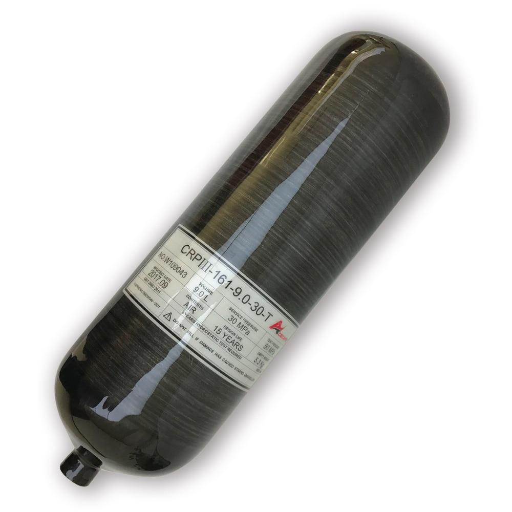 AC3090 9L GB 300Bar 4500Psi Black Carbon Fiber Cylinder Gas Bottle For PCP Air Gun Paintball Tank Acecare