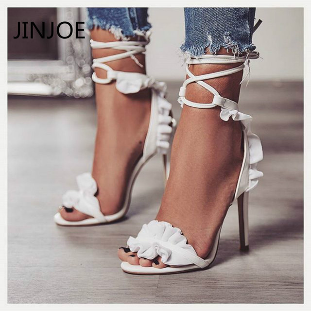 1ebfd57f970 JINJOE shoes woman summer Lace cross frenulum High heel sandals glass  slipper Thin heels sexy party pumps Ankle lace up