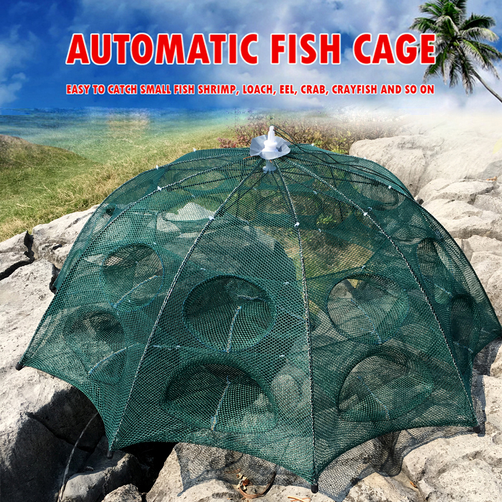 Folding Fishing Net Crawfish Fishing Network Shrimp Cast Dip Mesh Fish Trap