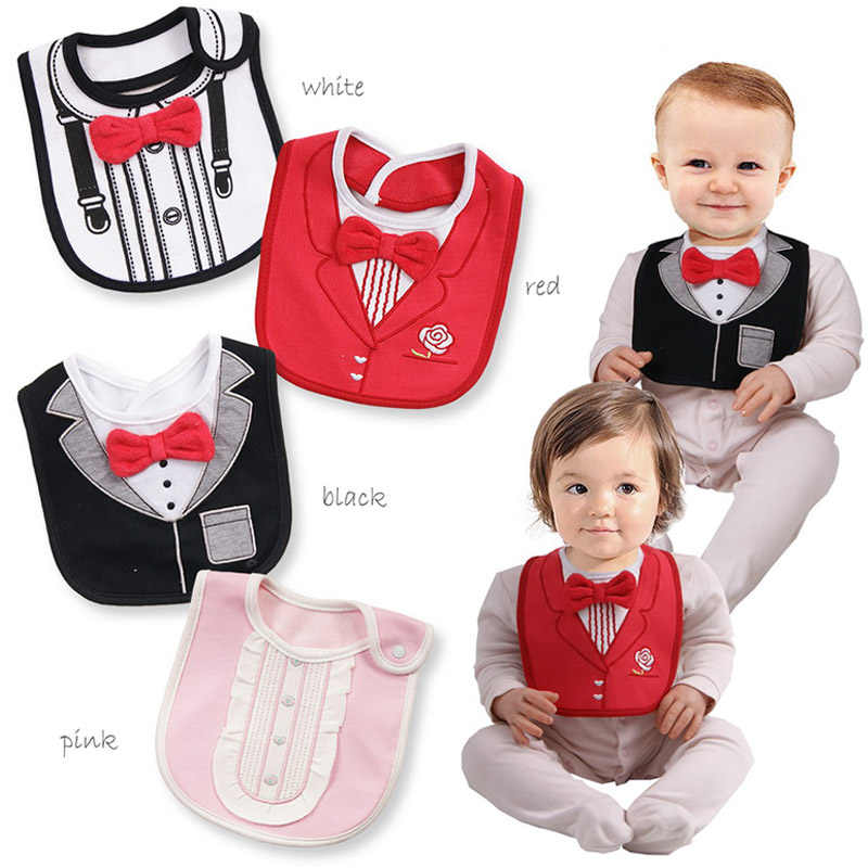 097a13f1fadd Fahion 3 layers waterproof baby bib gentleman funny bibs boys girls towel  cartoon tuxedo bibs Newborn