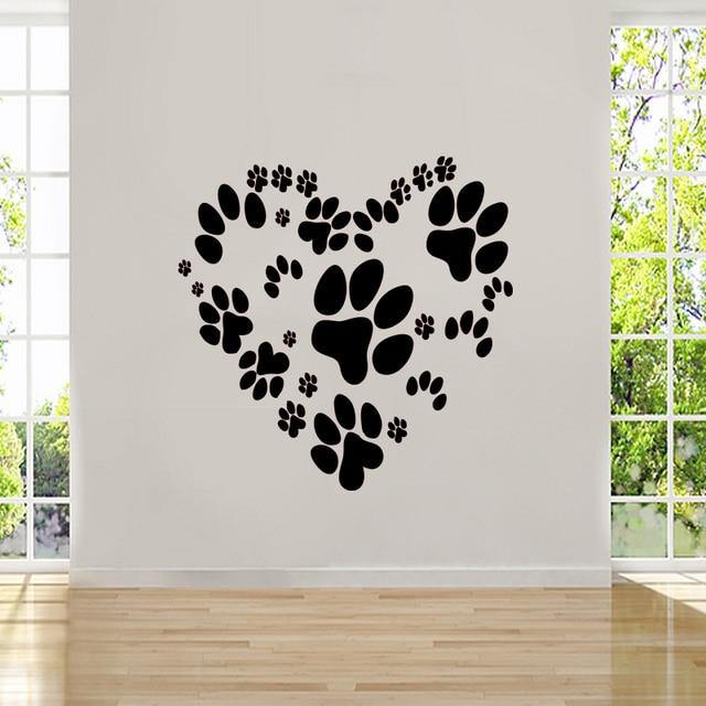 Animal Paw Print Heart Design - Wall Sticker Vinyl Decal Love Dog Cat Pet Mural Diamond & Animal Paw Print Heart Design Wall Sticker Vinyl Decal Love Dog Cat ...