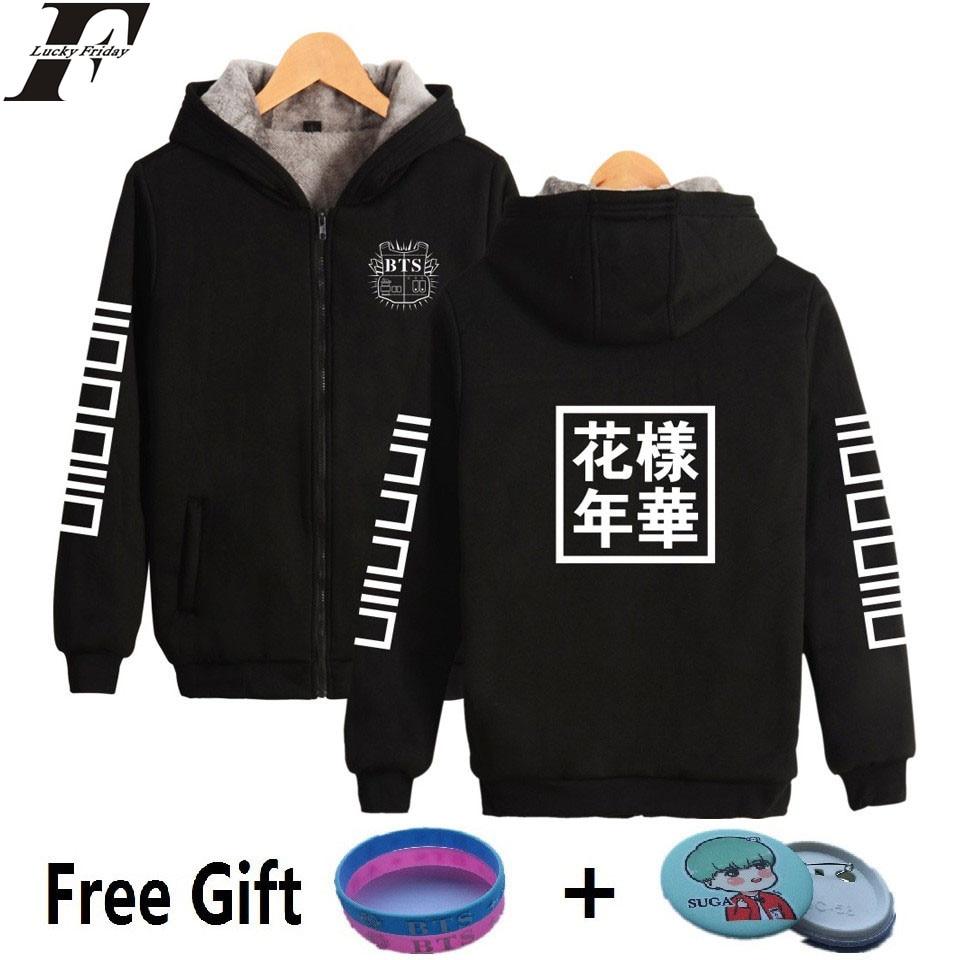 LUCKYFRIDAYF BTS Kpop Women Hoodies Sweatshirt Bangtan Hip Hop Thicker Sweatshirt Women Hoodies Winter Female Fans Zipper Clothe