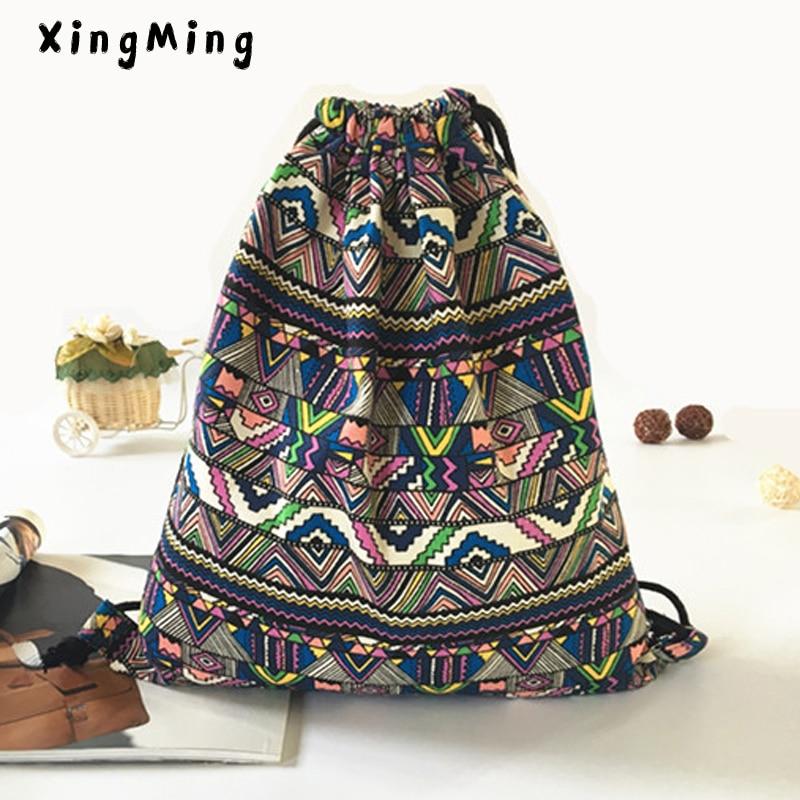 Xingming Women Fabric Backpack Female Gypsy Bohemian Ethnic Ibiza Brown Drawstring Backpacks Bag For Women