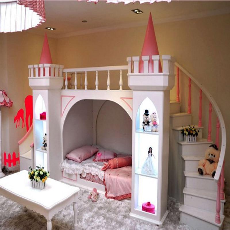 Neue Europaische Massivholz Kinder Reine Kiefer Bett Castle Princess