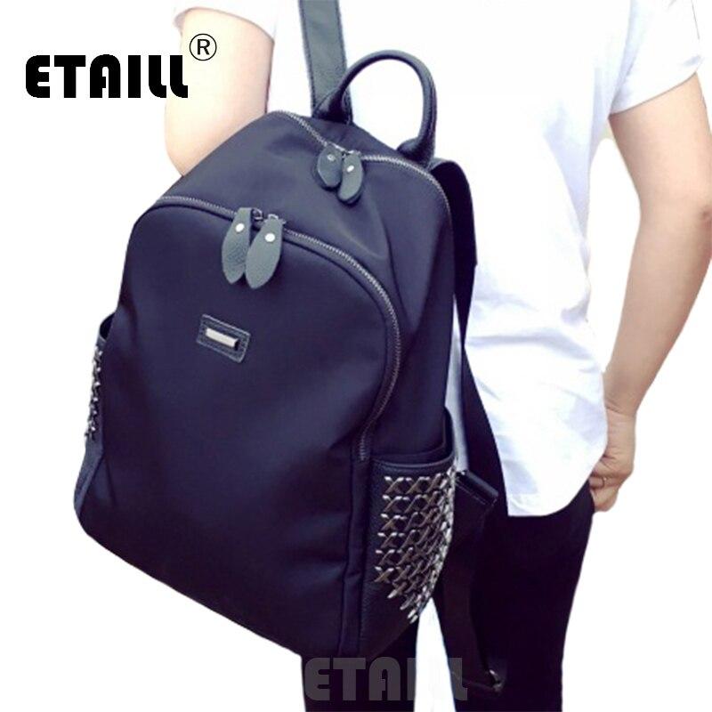 Stylish Black Nylon Rivet Women Studs Oxford Backpack Famous Brand Luxury Female Ladies Waterproof Rucksacks Sac