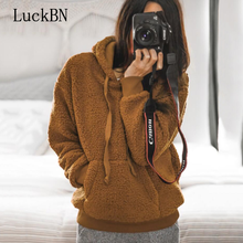 Faux Fur Fluffy Teddy Hoodie Pullovers Casual Drawstring Preppy Sweatshirt Women Autumn Winter Hoodies Minimalist Sweatshirts цены онлайн