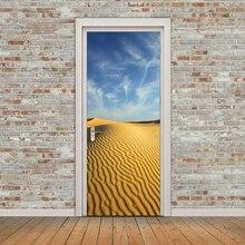 Imitation 3D New Desert Door Stickers Wooden Self-Adhesive Decoration Waterproof