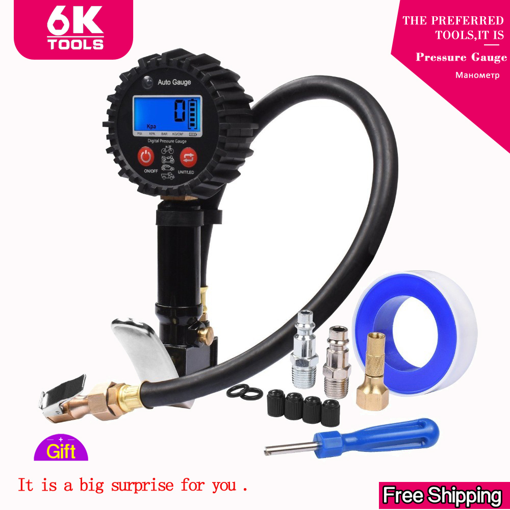 Tire Pressure Gauge Digital Tire Tester 200PSI LCD Display Air Pressure Manometer Quick Connect Coupler For Car Truck Motorcycle
