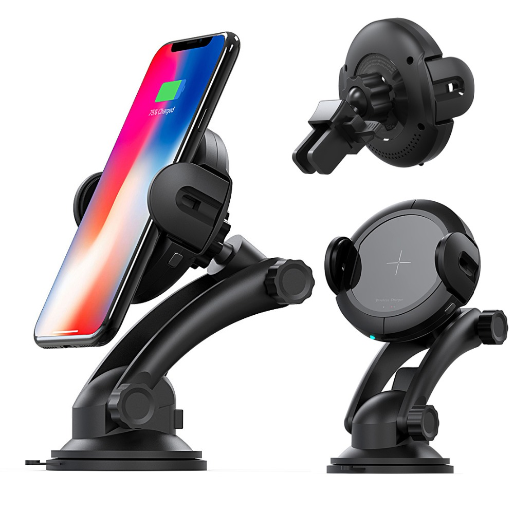 2018 Universal Intelligent Infrared Sensing Wireless Charger Car Phone Holder Car Mount Wireless Fast Charge Car