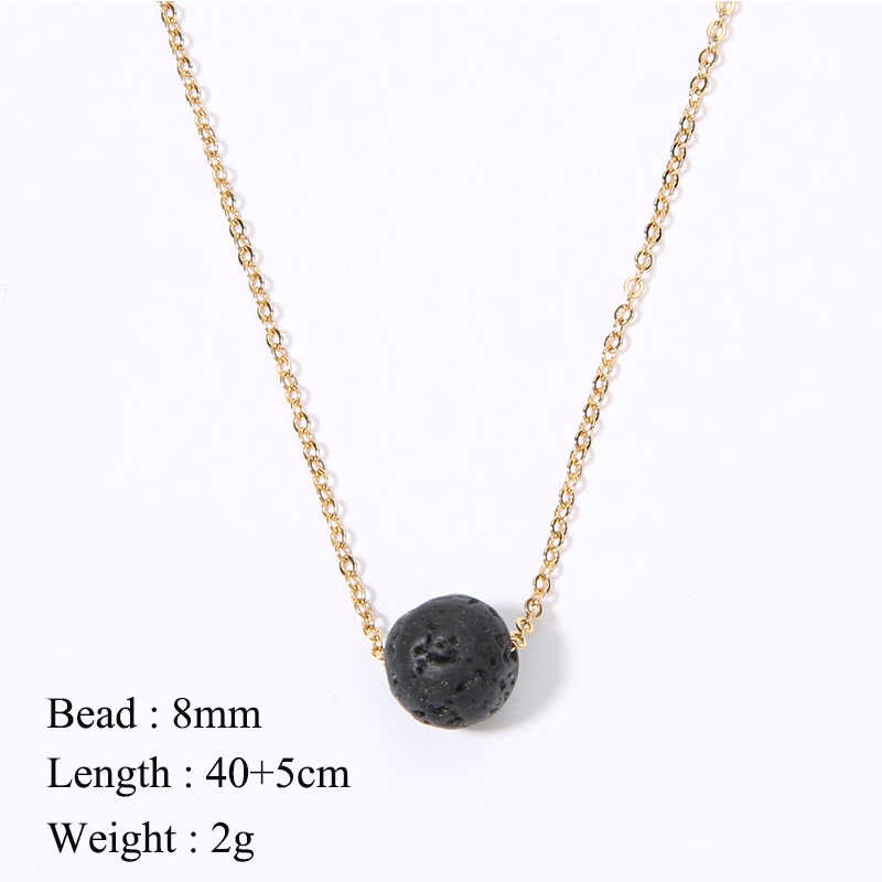 SHINUSBOHO Fashion 8mm Bead Pendant Necklace Charm Moonstone Jewelry Volcanic Stone Chain kolye Women Choker Statement Necklace