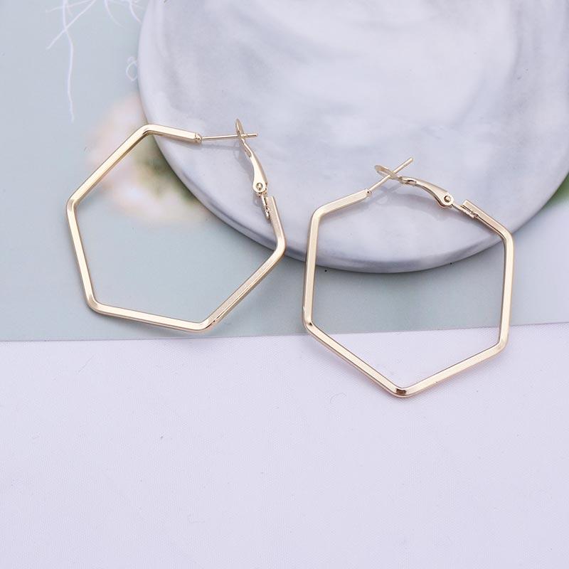 Ohrringe Nachdenklich Big Hoop Ohrringe Für Frauen Brincos Gold Silber Farbe Erklärung Schmuck Trendy Großen Kreis Hexagon Geometrische Ohrringe Eb379