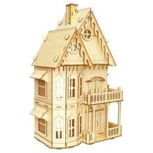 Wooden model villa 3D wooden model making three-dimensional jigsaw puzzle laser model building kits wooden model toy assembly все цены