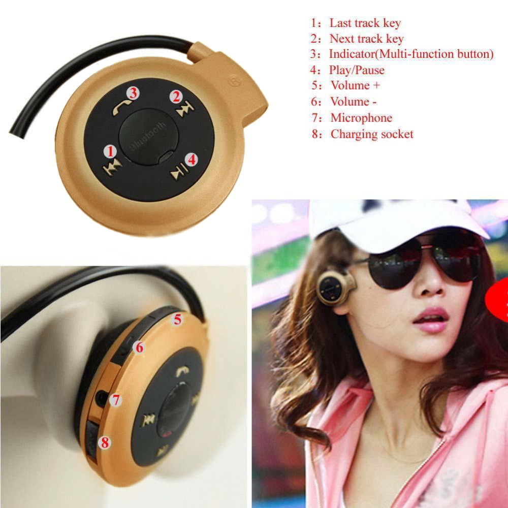 Sport Wireless Bluetooth 3.0 Headset Headphone Earphone Stereo Mini 503 Gold best workout headphones headphones for running A273 mini 503 neckband sport wireless bluetooth handsfree stereo headset headphone earphone for mp3 player hot sale