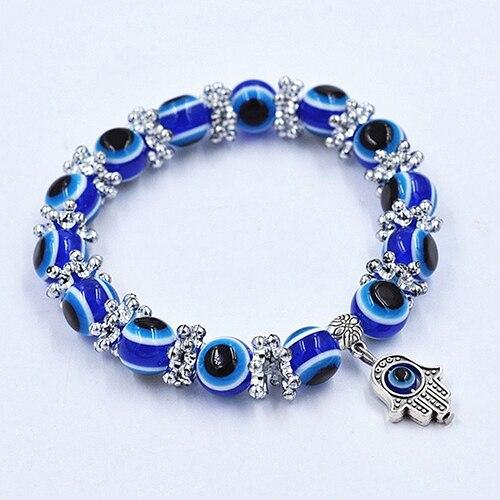 24pcs Unisex Vintage Handmade Hamsa Fatima Bangle Evil Eye Beads Elastic Bracelet