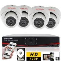 SUNCHAN 4CH CCTV Système AHD 1080N DVR Kit 4 pcs 1.0 Mégapixels CCTV DVR 4 Canaux AHD DVR Seucirty Caméra Système Android iOS APP 1 TB