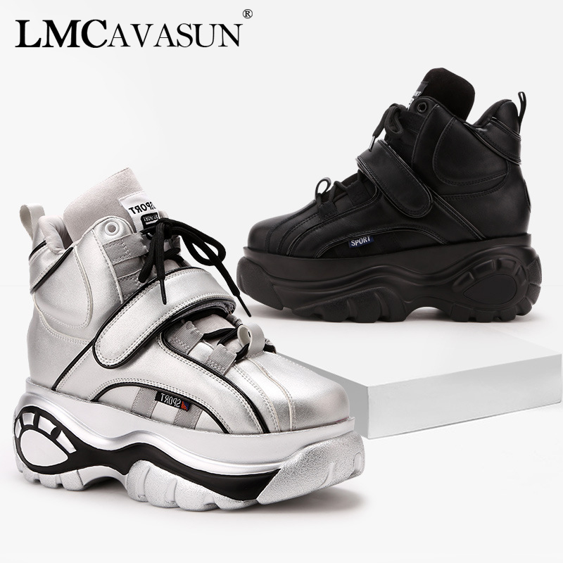 LMCAVASUN Sneakers Femmes Haute Plate-Forme Chaussures Rose Argent Croissante Dames Formateurs leathe Chaussures Tenis Feminino Casual Chaussures