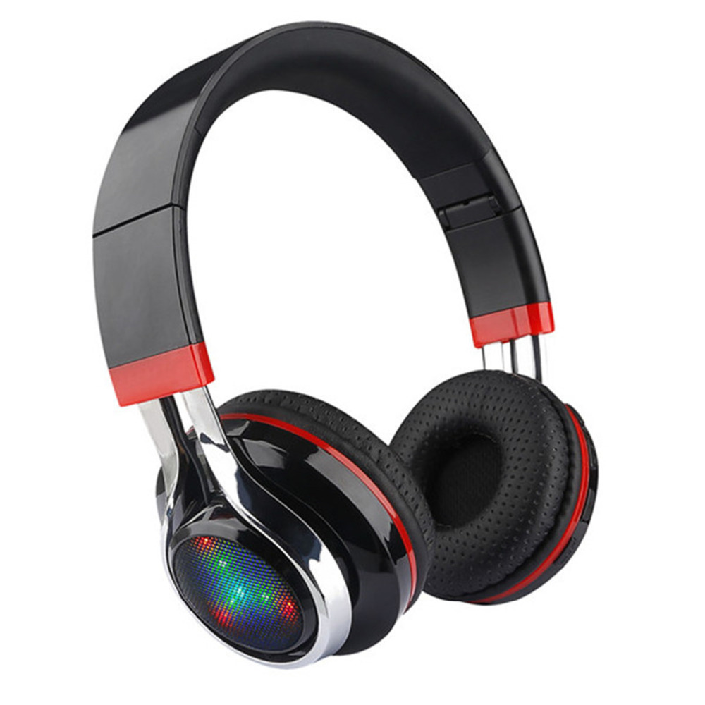 For iphone Bluetooth Headphones Glowing Foldable Earphone Wireless Stereo Music Headset With Mic FM Radio TF Headset LED Light