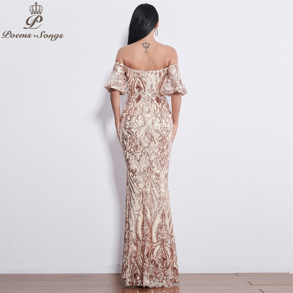 Poems Songs New Style elegant Evening dresses  long vestido de festa longo prom dress robe de soiree evening gowns for women