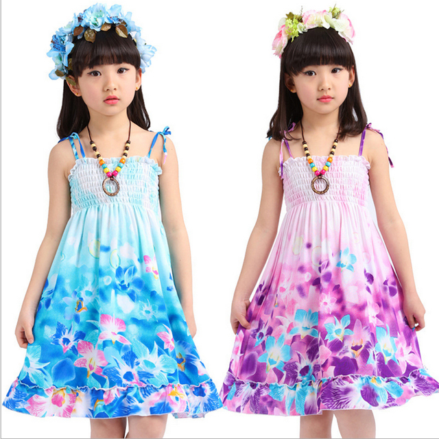 9a99d54898bb 2017 Summer Bohemian soft & adjustable baby girl Dress Beach clothing Fresh  Chiffon cut cartoon rainbow color children clothing
