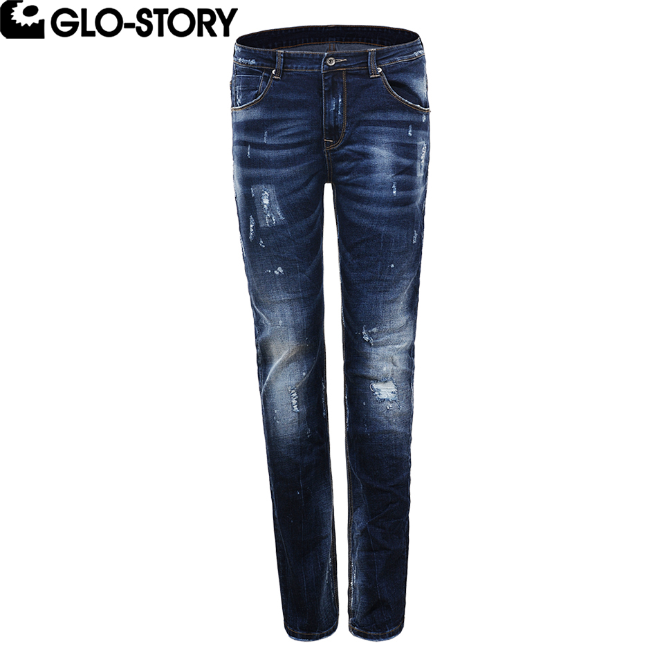 GLO-STORY Mens Hole Distressed Ripped Jeans Men Hip Hop Homme Jean Pants MNK-5083