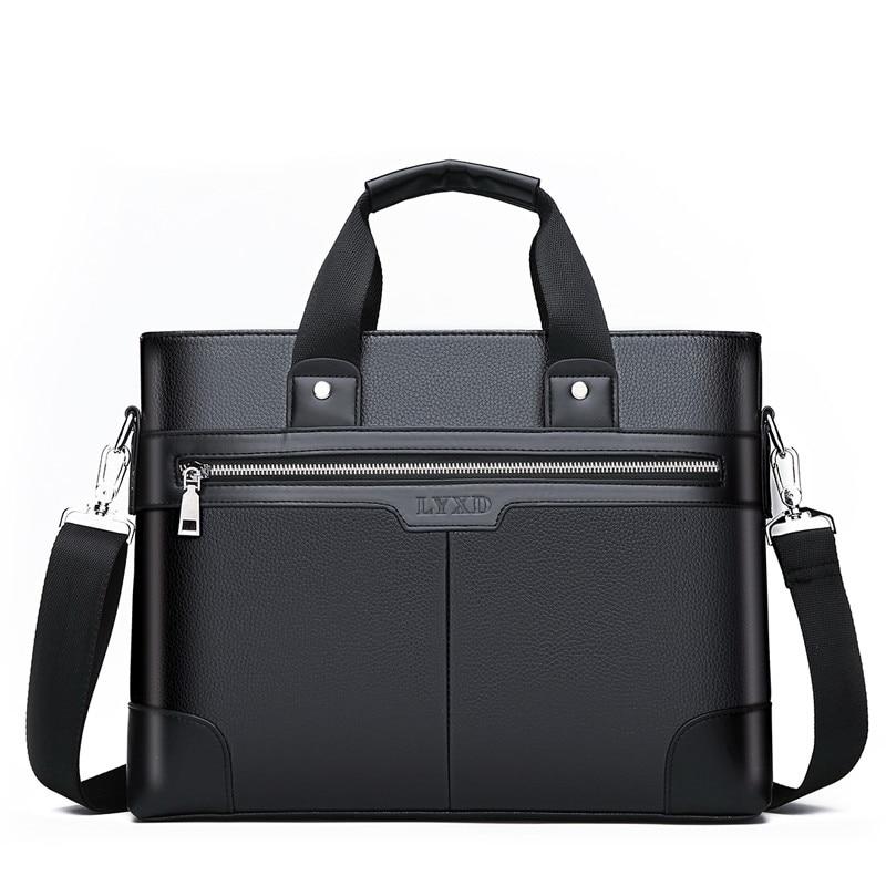 Men PU Leather Shoulder Fashion Handbags Business Bags Black Bag Men for Document Male Briefcases Le