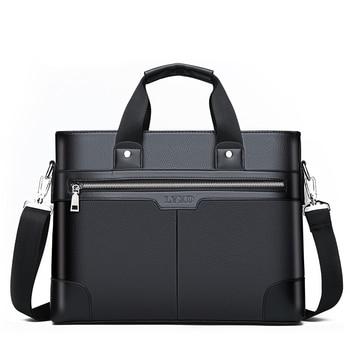 Men PU Leather Shoulder Fashion Handbags Business Bags Black Bag for Document Male Briefcases Laptop