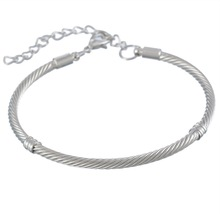 MJARTORIA European Charm Bracelets & Bangles Fit Charm Beads DIY Fine Jewelry Bright Silver Tone Bracelet Gifts For Women
