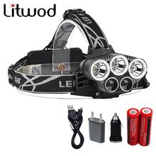 Litwod Z302309A 15000lm Led Head Lamp 3T6+2LST Alu-alloy Body Headlamp Headlight 6 Mode Head Light 18650 battery USB Car Charge