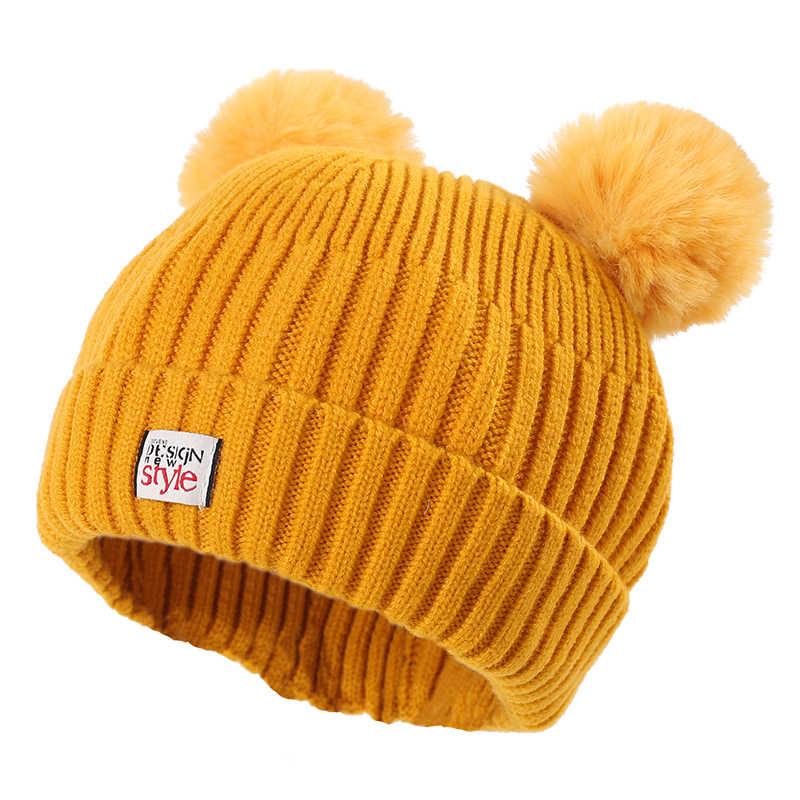 เด็กทารกหมวกถักหมวกคู่หมวก Pompom สำหรับสาวฤดูหนาวหมวกเด็กใหม่สไตล์เด็กหมวก Pompom