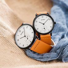 Любителя часы EYKI кварцевые Для женщин Для мужчин часы унисекс из натуральной кожи Montre Femme ООН де Relojes пары настольные часы с подарочная коробка
