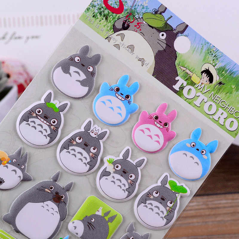 Kreatif My Neighbor Totoro Kartun 3D Stiker Dekorasi PVC Alat Tulis Diary Stiker Lembar Memo stiker Bercahaya