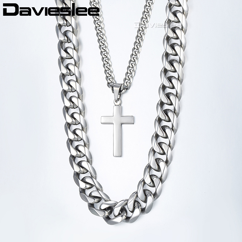 Davieslee Necklace For Men Silver Stainless Steel Curb Cuban Link Chain Cross Pendant Necklace Hip Hop Jewelry 14mm 24inch LDN04 8mm 10mm 12mm 14mm stainless steel curb cuban link chain hip hop punk heavy gold silver plated cuban necklace for men