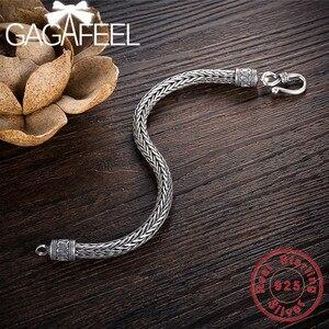 Image 3 - GAGAFEEL hakiki 100% gerçek saf 925 ayar gümüş erkekler bilezikler kenevir halat Vintage el yapımı tay gümüş erkek takılar güzel hediye