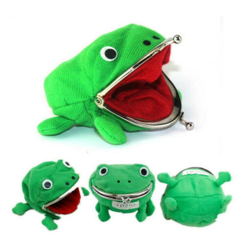 1PCS Cartoon Frog Coin Purse Wallet Anime Manga Shape Fluff Clutch Cosplay Green