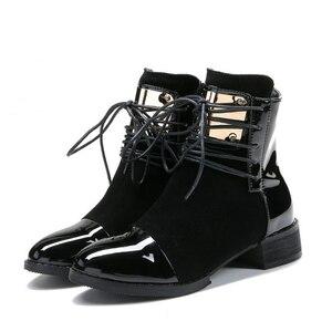Image 3 - JIANBUDAN marka moda PU skórzane damskie buty motocyklowe jesień skórzane sznurowane botki kobiece buty zimowe śnieg 35 43
